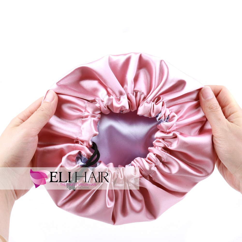 ELIHAIR Kids Satin Bonnet Sleeping Cap for Natural Hair Teens Toddler Child Baby Adjustable Satin Cap for Night Sleeping Reversible Double Layer Pink/Purple