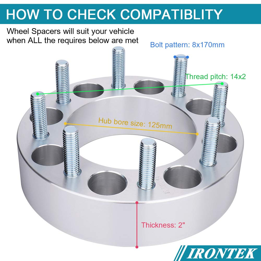 IRONTEK 2 Thickness 8x170mm Wheel Spacers 8 Lug 8x170 to 8x170 with 14x2 Studs 125mm Hub Bore Wheel Spacers Adapters fit 1999-2004 Ford F-250 1999-2004 Ford F-350