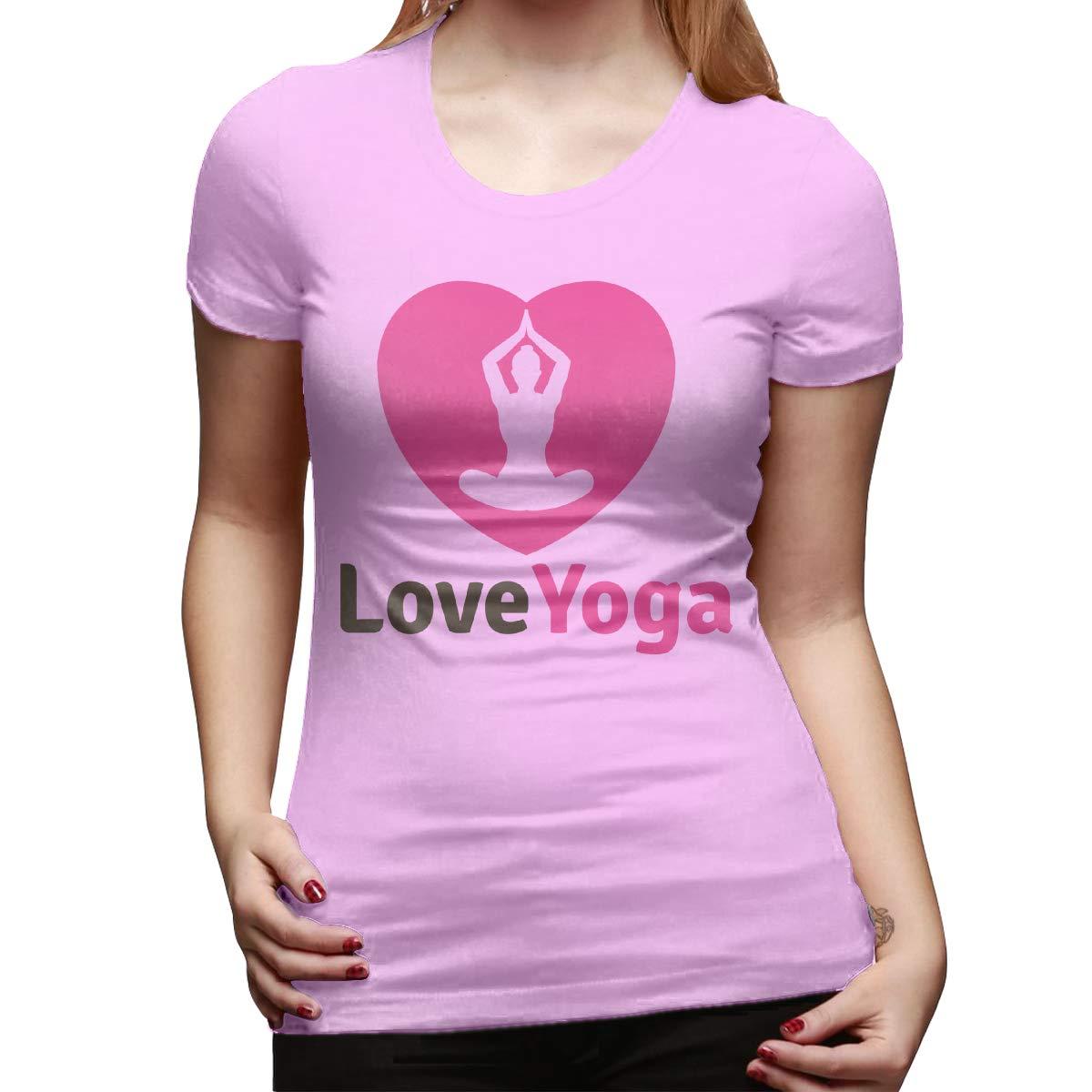 STDONE Womens Design Casual Tees Love Yoga Logo Template Short Sleeve Funny T Shirts Black