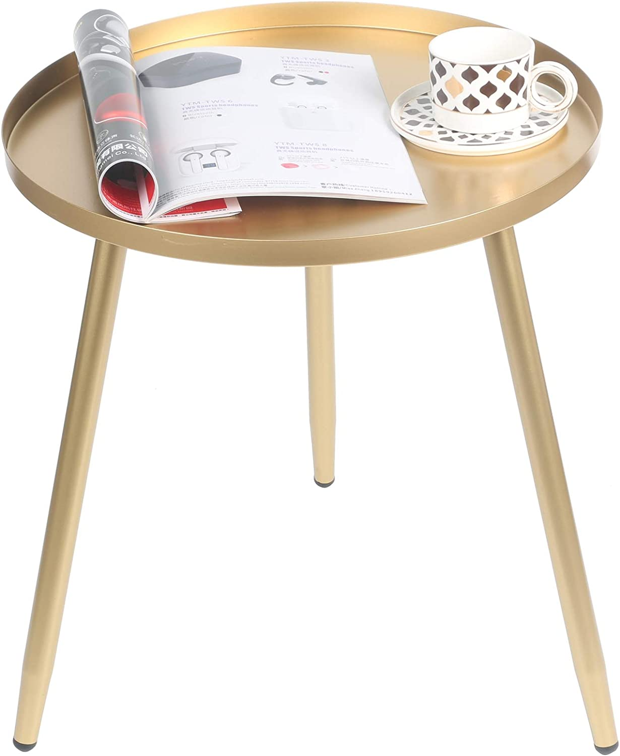 EXILOT Side Table, Round Metal Nightstand Modern Home Decor Coffee Tea End Table Accent Tables for Living Room Bedroom Office Small Spaces, 17.3