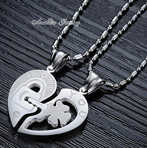 ruilinyang 1 Pair Titanium Stainless Steel Mens Pendant Necklaces for Couple Women Half Heart Shape Black Length 55cm Multi-Color,one Size