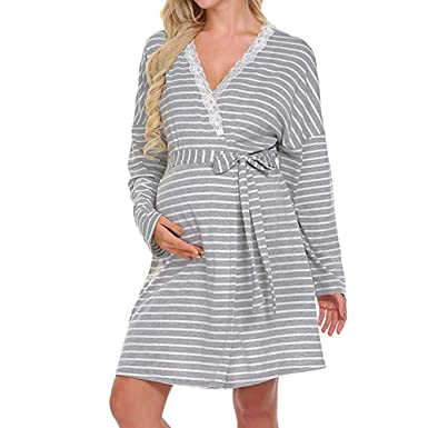 6537e2d1c Vestido Encaje Ropa Premamá de Lactancia Rayas Pijama para Mujer Maternidad Manga  Larga Ropa para Embarazadas Cuello en v Otoño Invierno Gusspower  ...