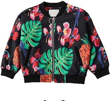 Niño Ropa Abrigo Chaqueta Chico Vestidos Outwear Corto Rompevientos Ocio Otoño Impresión Flores Bebé Camisa Cremallera Chaqueta Manga Larga Casual ZYS, 90cm: Amazon.es: Ropa y accesorios
