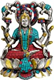 Goddess Lakshmi Venerated by Auspicious Elephants (Inlay Statue) - Brass Statue with Inlay
