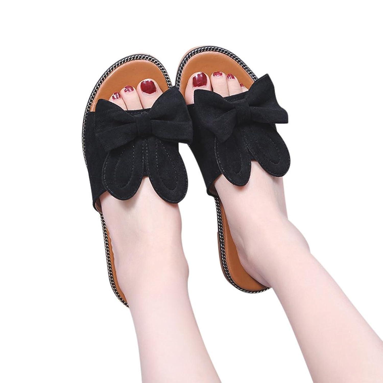QinMM Mode Damen Solide Bow Low Heel Flachen Boden Sandalen Slipper Strand Schuhe Bequeme Schuhe Spring Fashion