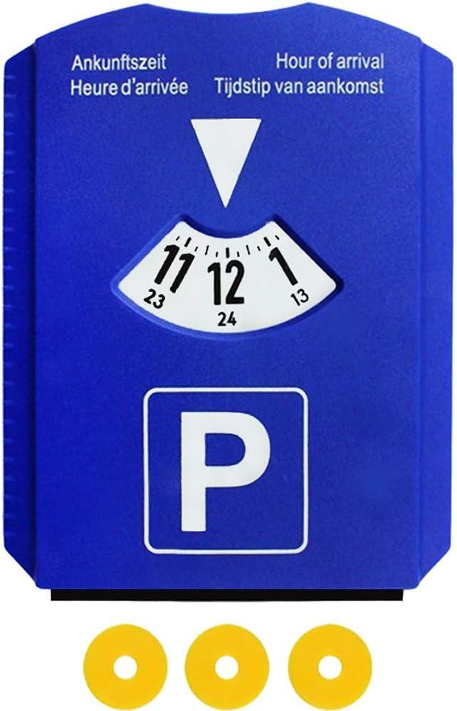 1 St/ück M/&H-24 Parkscheibe Parkuhr Auto mit Eiskratzer und 3 Einkaufswagenchip Blau Europa Zulassung