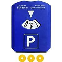 M&H-24 Parkscheibe Parkuhr Auto mit Eiskratzer und 3 Einkaufswagenchip Blau Europa Zulassung (1 Stück)