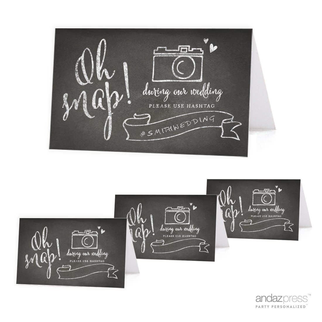 Andaz Press Table Tent Place Cards on Perforated Paper, Vintage Chalkboard Print, Oh Snap! During our Wedding, Please Use # Hashtag Photo Sign for Instagram, Facebook, Twitter, and Social Media Photographs, 20-Pack, For Bridal Shower, Engagement, Wedding