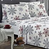 Brielle 100-Percent Cotton Flannel 6 Piece Sheet Set, King, Red Snowflake