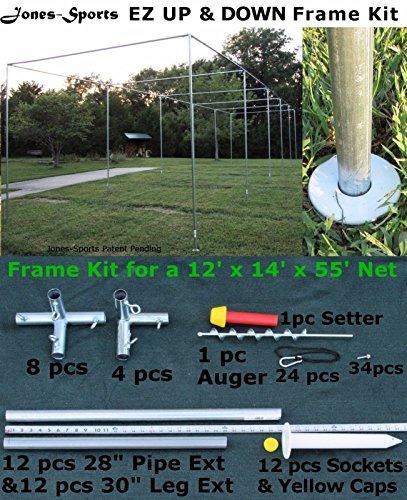 12' x 14' x 55' Heavy Duty Baseball Softball Batting Cage Frame Kit EZ UP & DOWN by Pinnon Hatch Farms/ Jones-Sports