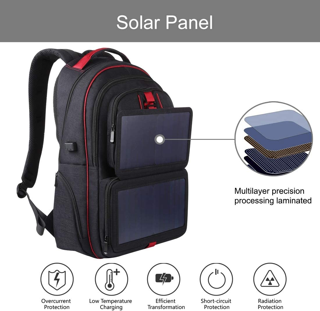 Durable Color : Black 14W Foldable Solar Power Outdoor Portable Canvas Dual Shoulders Laptop Backpackage Black USB Output: 5V 2.1A Max