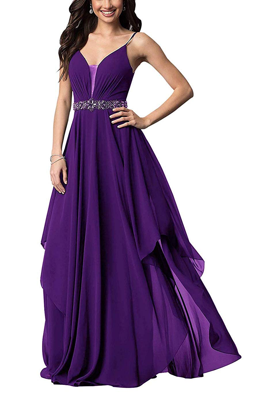 Purple Stylefun Spaghetii Strap Bridesmaid Dress for Women Ruched Skirt Evening Formal Gowns with Beaded Belt KN025