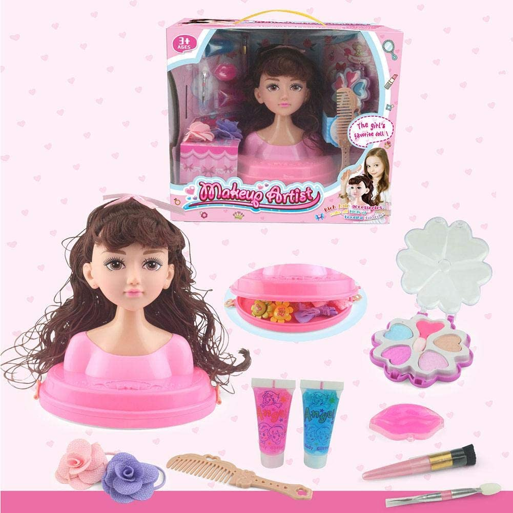Sanmubo Children Doll Set Makeup Comb Hair Girl Toy Hairdressing Princess Doll Styling Head Doll Girls Pretend Play Toy