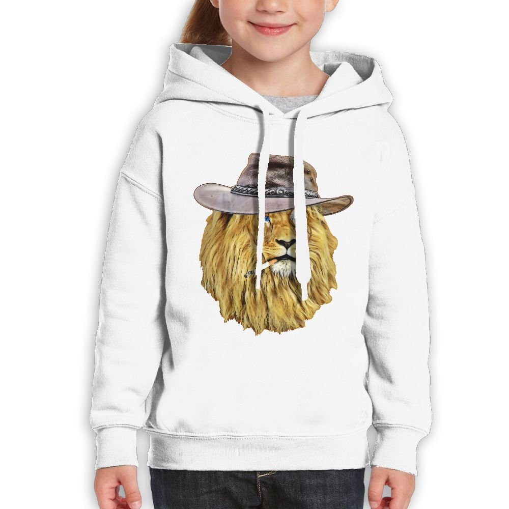GLSEY Lion Wearing A Hat Youth Soft Casual Long-Sleeved Hoodies Sweatshirts