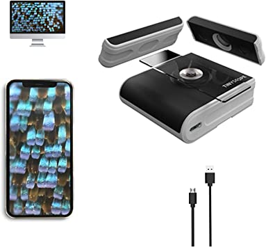 Microscope Kit with Specimens Slides for Kids 8-12 Teens Students Adults TinyScope Mobile Microscope Lens 20X 400X for iOS Android Phones