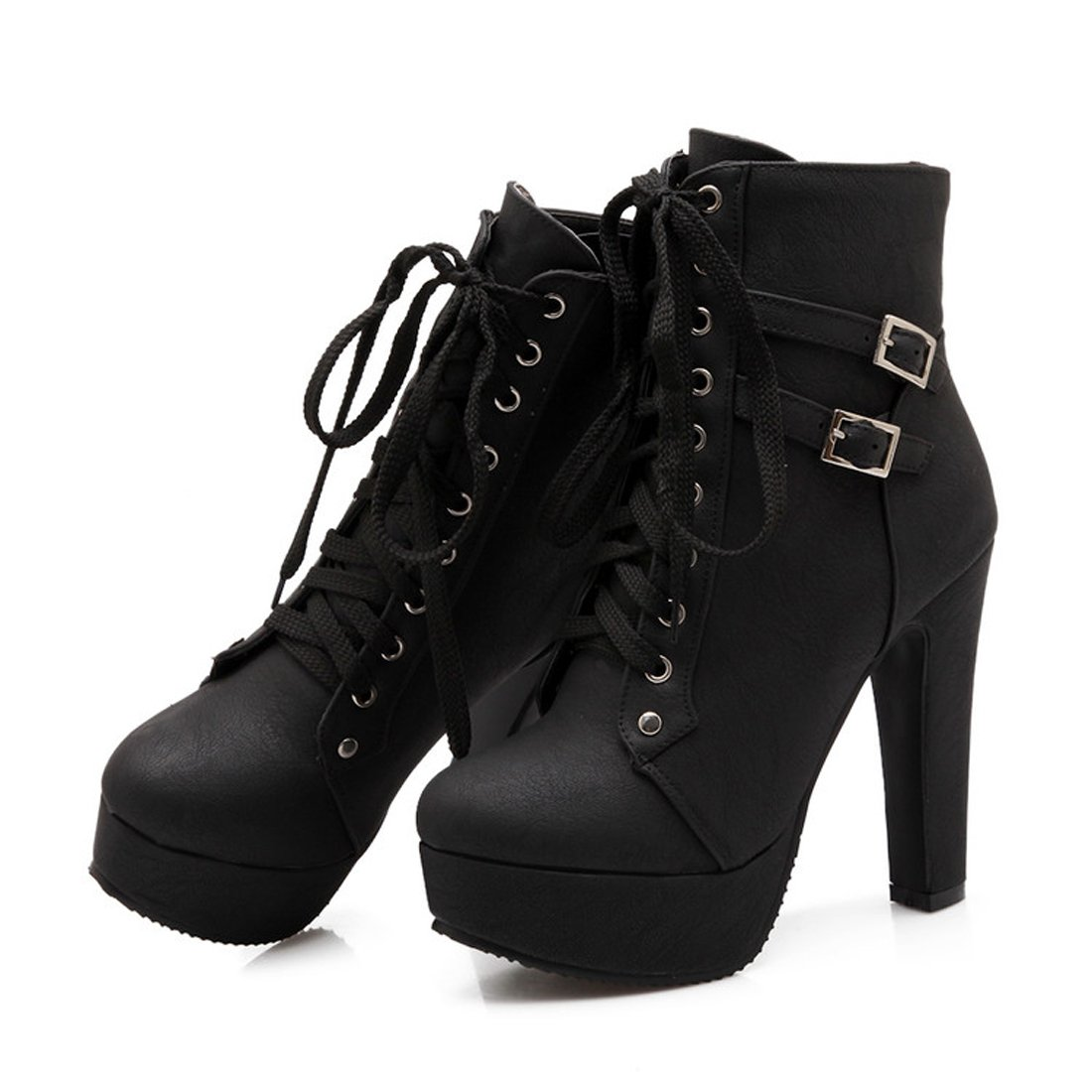 Mostrin Womens Motorcycle Boots Winter Sexy Buckle Lace Up Platform Chunky High Heel Ankle Booties