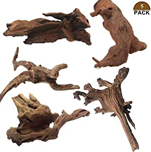 Tfwadmx 5PCS Aquarium Driftwood Branches Reptiles Trunk Driftwood Natural Wood Fish Tank Decoration Plant Stump Ornament Decor Assorted