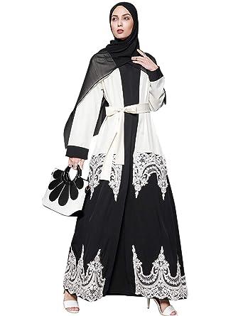 5af91ab96 TAAMBAB Mujer Estilo Elegante Encaje Abaya - Bata Largo Musulmán Islámico  Árabe Dubai Boho Ropa Blusa Larga Kimonos Disfraz Turquía Suelto Caftán  ...