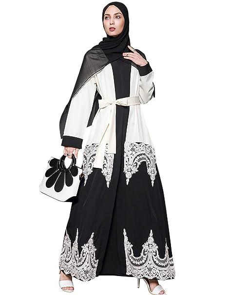 TAAMBAB Mujer Estilo Elegante Encaje Abaya - Bata Largo Musulmán Islámico Árabe Dubai Boho Ropa Blusa Larga Kimonos Disfraz Turquía Suelto Caftán: ...