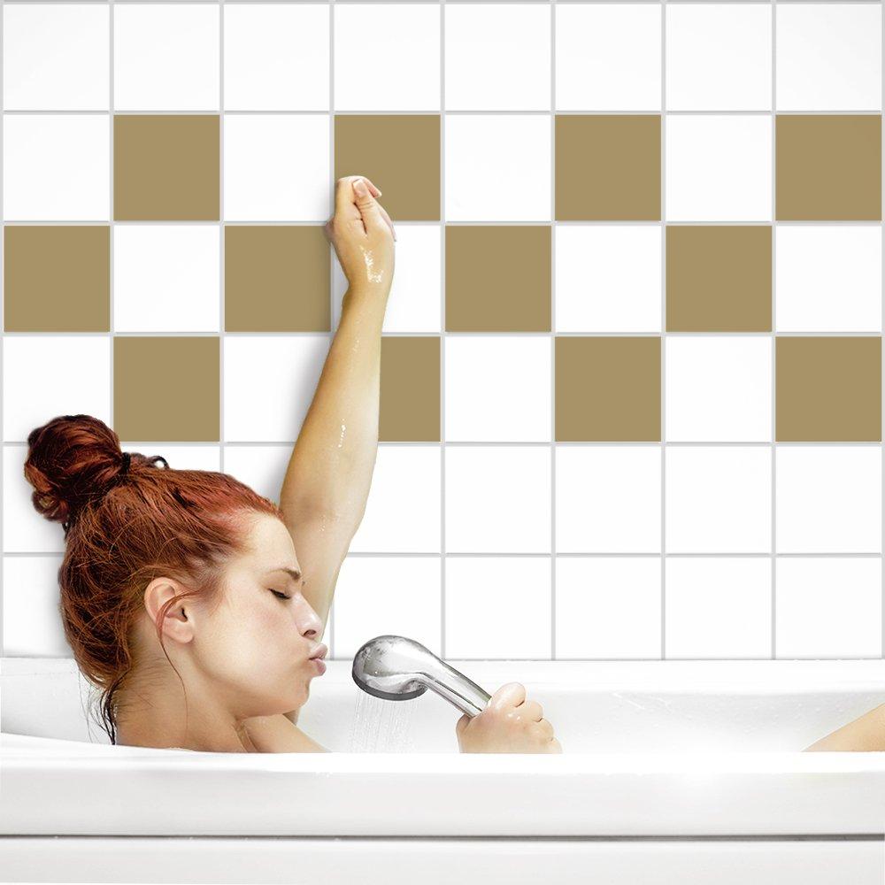 PrintYourHome Fliesenaufkleber für Küche und Bad Bad Bad   einfarbig weiß matt   Fliesenfolie für 20x20cm Fliesen   152 Stück   Klebefliesen günstig in 1A Qualität B0723BWHYX Fliesenaufkleber 5b5d5c