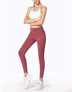 ZMJY Pantalones de Yoga, Polainas Extra Blandas para Mujeres, sin Cintura elástica, Cintura Alta, Yoga, Sudor, Mecha, Medias de Entrenamiento para Mujeres, Deporte,Pink,S