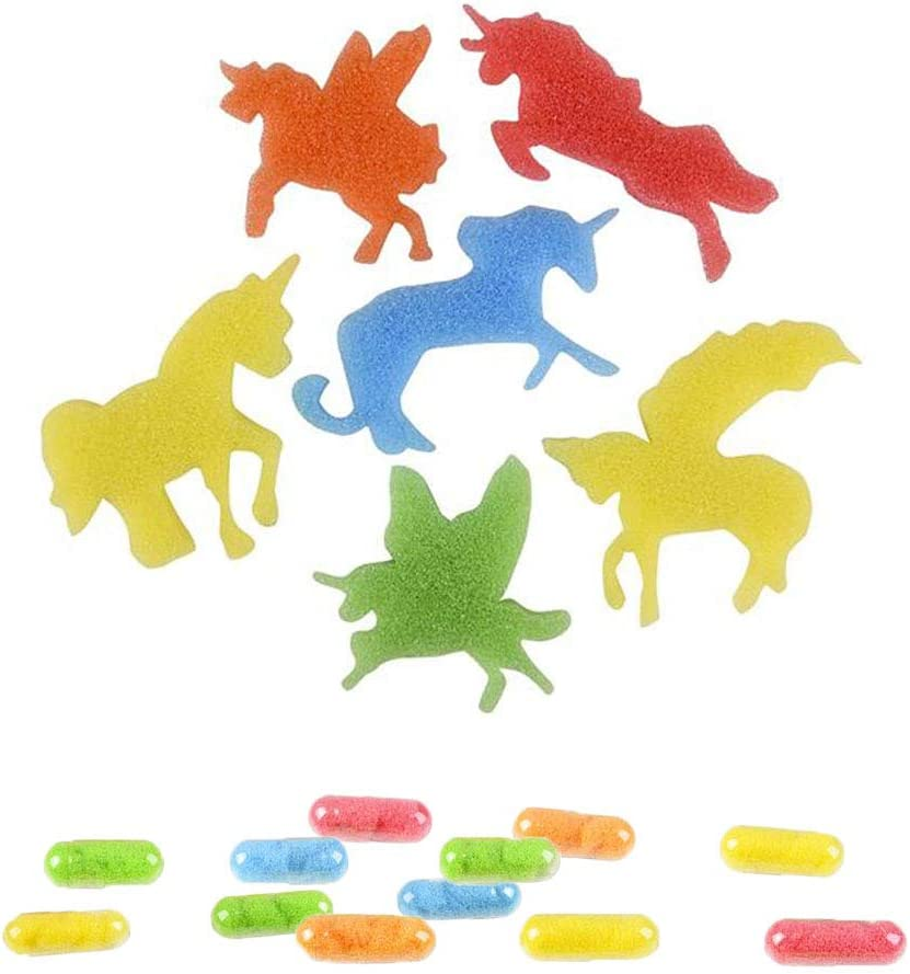 The Trendy Turtle Magic Growing Unicorn Capsules - Sponge Shapes That Grow in Water - Assorted Colors and Shapes for Birthday Party Prize and Treat Bags - 36 Pieces
