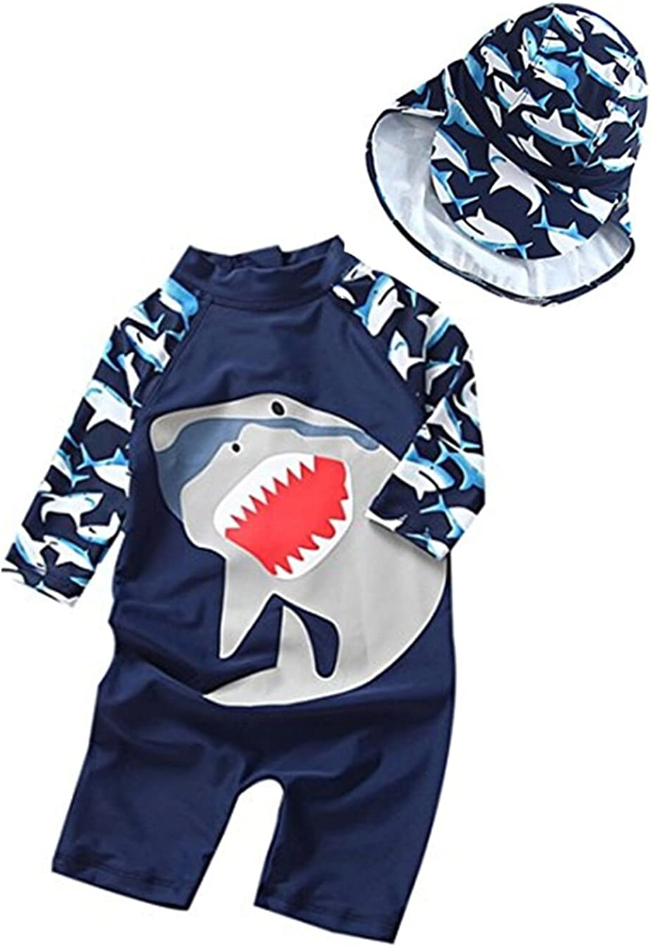 KIDDAD Kids Baby Boys Girl One-Piece Cartoon Dinosaur Rash Guard Long Sleeve Swimsuit Sun Protection Bathing Suit