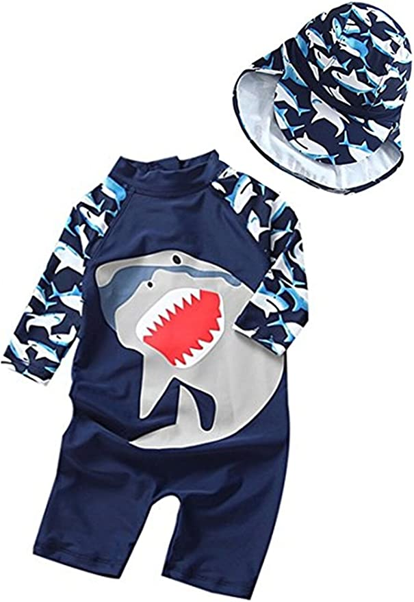 CJMJXPH Baby Boys Kids Short Sleeve UV Sun Protection Rash Guards Swimsuit with Hat Crab