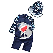 Toddler Baby Boy Summer Long Sleeve One Piece Rash Guard Swimsuit Sun Protection Size 9-12M (Navy Blue)