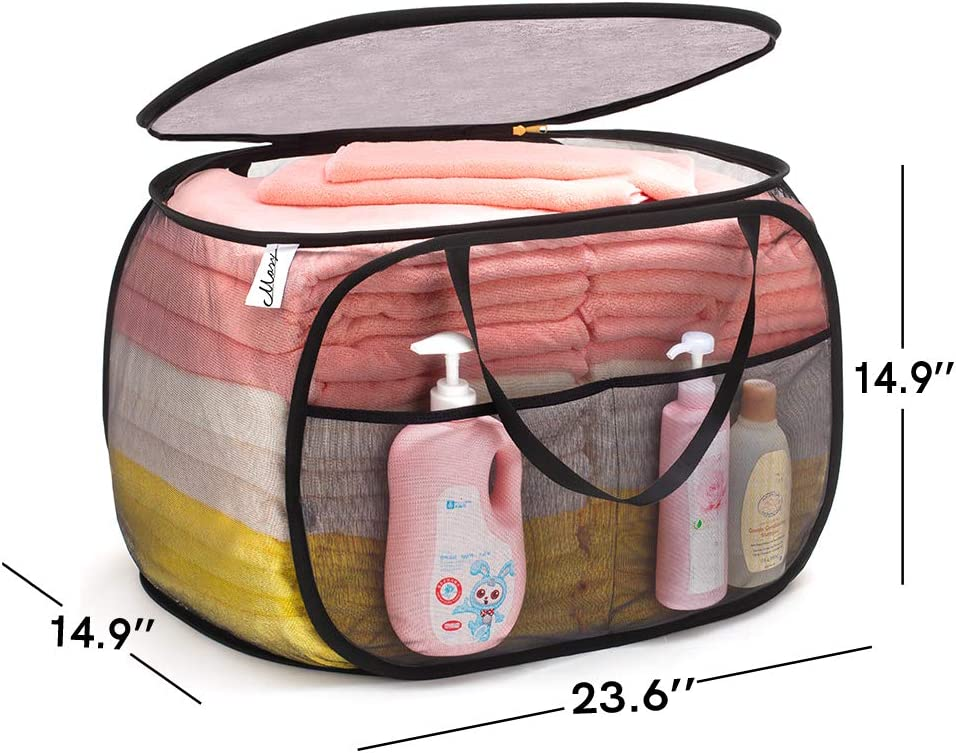 TENRAI Horizontal Pop Up Laundry Hamper,Easy to Carry Up and Down Stairs Black Pop-Up Laundry Hamper with Zipper Closure,Large Opening Folding Clothes Hamper for Home /& Travel. M
