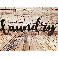 AT Industrial Metal Script Word Wall Sign Decor (Laundry)