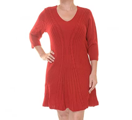 96a65fc9e27 Image Unavailable. Image not available for. Color  NY Collection Petite  Cable-Knit A-Line Sweater Dress Size PL