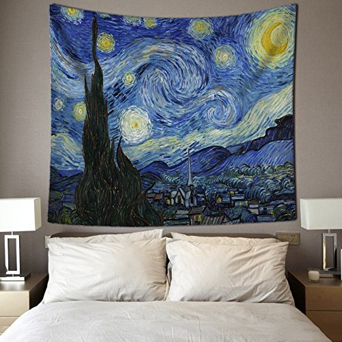 HL Handicrafts Wall Hanging Tapestry for Bedroom Living Room Starry Sky Fabric Beach Cover Up Wall Art Decor Collage Dorm Curtain Light-weight Polyester Bedspread (90 x 60 Inch, Starry Night)