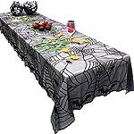 Axgo - Mantel Rectangular de poliéster y Encaje con diseño de araña, Color Negro, para decoración de Halloween, de 48 x...