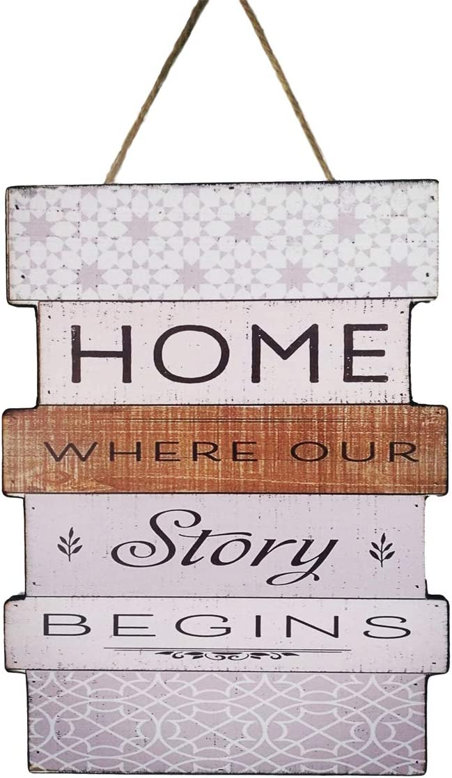 Evursua Rustic Wood Wall Signs Home Decor Wall Art Plaques Hanging Decorative Farmhouse Door Sign 12 x16,Family Rules or Sayings (White)