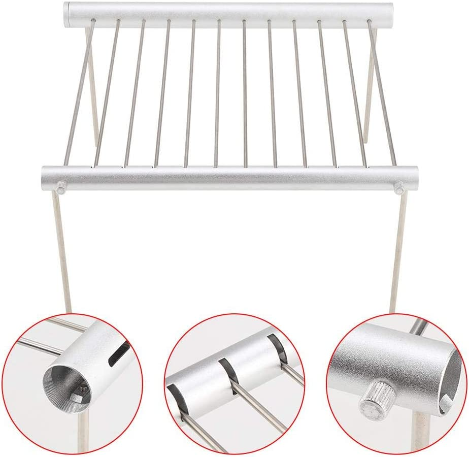 AYNEFY Stainless Steel Folding BBQ Tube Barbecue Grill Tool Folding Base Oven Cooker Rack Grill Cooking Shelf, Portable Camping Grill