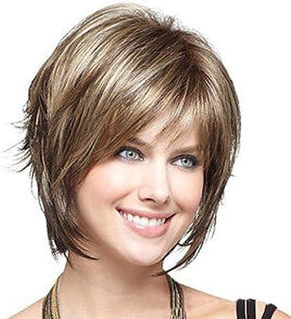 WKHQQ-wig Headgear peluca de moda niña tinte pelo corto recto ...