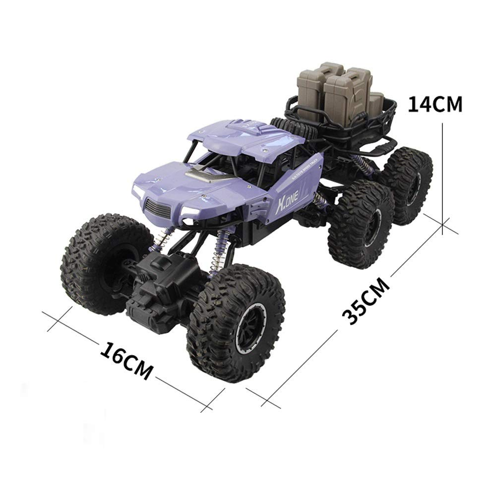 Tagke Six-Wheel Four-Drive Off-Road Vehicle Remote Control Car Dual Motor Powerful Dynamic Anti-Skid Tires Conquer Various Terrain Climbing Car 2.4GHz Exquisite Interior RC Car Kids Boys Best Gift
