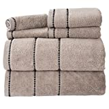 Bedford Home Quick Dry 100Percent Cotton Zero Twist 6Piece Towel Set -Taupe