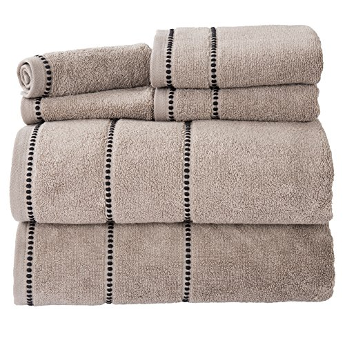 Luxury Cotton Towel Set- Quick Dry, Zero Twist and Soft 6 Piece Set With 2 Bath Towels, 2 Hand Towels and 2 Washcloths By Lavish Home (Taupe / ()