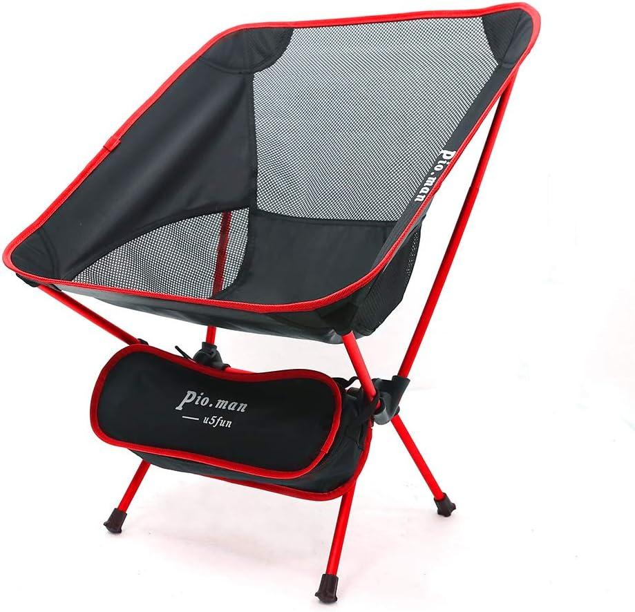 PIO.MANSilla de camping y pesca extremadamente ligeray plegable resistente con capacidad de carga de 150 kg compacta portátil con bolsa de ...