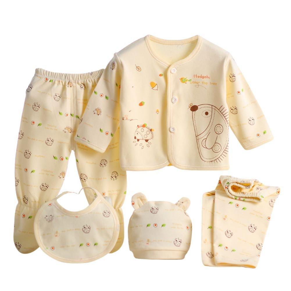 ESHOO 0-3M Baby Newborn Cotton Tops Hat Pants Bib 5PCS Set Outfit Clothes