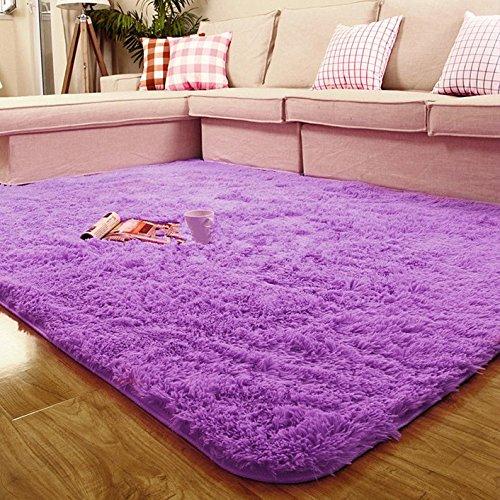 Cheap GIANCO FERRO Faux Fur Sheepskin Decorative Rug – Round Area Rugs Super Soft for Living Room Violet 4×6.6