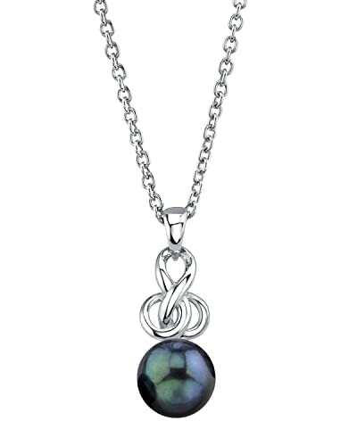 THE PEARL SOURCE Sterling Silver Round Black Akoya Cultured Pearl Adrian Pendant Necklace for Women