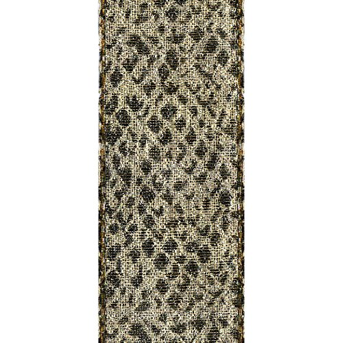 Offray Jeweled Snake Animal Print Craft Ribbon, 1-1/2-Inch Wide by 25-Yard Spool, Metallic Gold (Discontinued by Manufacturer)