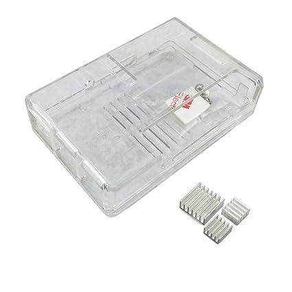 yongse® Carcasa para Raspberry Pi 3, Pi 2 Model B y Raspberry Pi Model B + Plus 3 x Disipador transparente Typ B