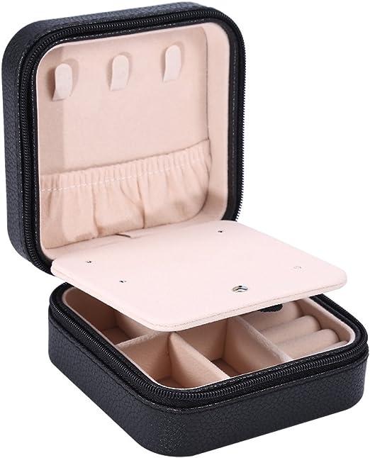 yuyte Caja de Joyería Mini, Estuche de Almacenamiento de Viaje de PU con Cremallera para Anillos y Pendientes y Anillo y Collar y Joyería(3#): Amazon.es: Hogar