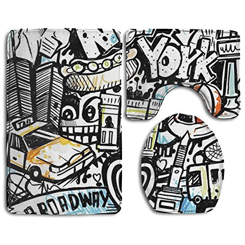 Graffiti Hip-hop Colorful Super Plush Bathroom Rugs Set Dotted Non-slip Bottom Contour Bath Rug Mildew Lid Toilet Cover And Bath Mat