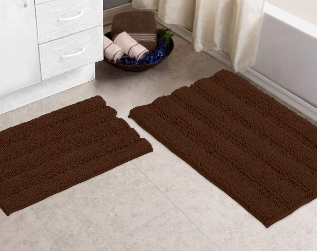 Zebrux Non Slip Thick Shaggy Chenille Bathroom Rugs, Bath Mats for Bathroom Extra Soft and Absorbent - Striped Bath Rugs Set for Indoor/Kitchen