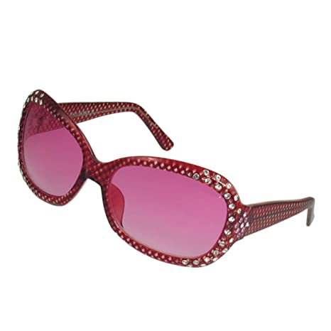 Rhombus strass Inlay bordato ovale sfumatura di colore degli occhiali da sole dell'obiettivo per le donne VQ5kzwQ